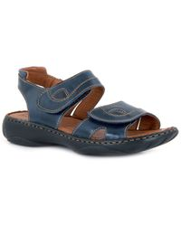 Josef Seibel - Dark Blue Leather 'debra' Flat Sandals - Lyst