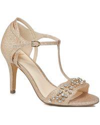 c2de805a060 Jenny Packham - Gold Glitter  phoebe  High Stiletto Heel T-bar Sandals -