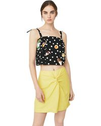 Mango - Black 'martini' Polka Dot Print Top - Lyst
