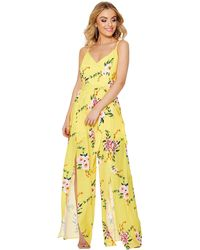 cd82a22cee5 Quiz Yellow And Black Leopard Print Culotte Jumpsuit in Yellow - Lyst