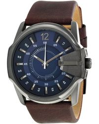 DIESEL - Men's 'master Chief' Blue Dial Brown Leather Strap Watch Dz1618 - Lyst
