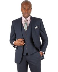 Racing Green - Blue Check Tailored Fit 2 Button Suit Jacket - Lyst