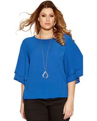 Quiz - Curve Blue Crepe Double Sleeve Necklace Top - Lyst