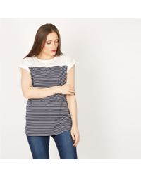 Izabel London - Navy Roll Up Sleeves T-shirt Top - Lyst
