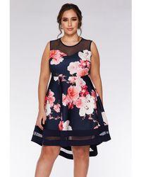 2fa09825c64 River Island Navy Polka Dot Floral Tea Dress in Blue - Lyst