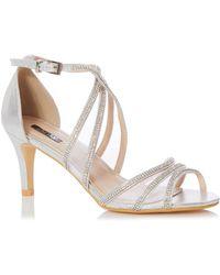 22874af6342 On sale Quiz - Silver Shimmer Diamante Low Heel Sandals - Lyst