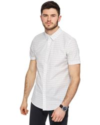 Red Herring - Big And Tall White Line Print Slim Fit Shirt - Lyst