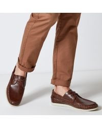 Burton - Brown Leather Look Boat Shoes - Lyst