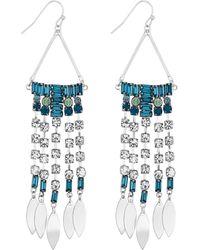 Matthew Williamson - Blue Crystal Diamante Drop Earrings - Lyst