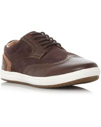Dune - Tan 'blusie Di' Mixed Material Brogue Trainers Shoes - Lyst