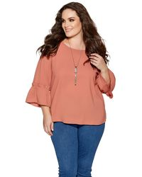 Quiz - Curve Terracotta Frill Sleeve Necklace Top - Lyst