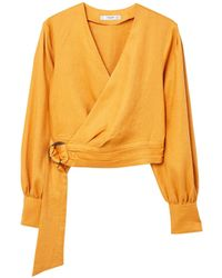 Mango - Mustard Pure Linen 'damson' Puffed Sleeve Wrap Top - Lyst