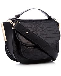 Faith - Black Croc-effect Saddle Bag - Lyst