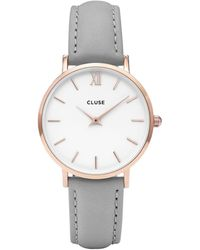 Cluse Ladies' And Grey 'minuit' Leather Strap Watch - Metallic
