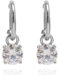 Anne Klein - Silver Plated Hoop Earring With Cubic Zirconia Drop - Lyst