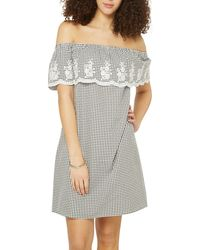Dorothy Perkins - Tall Monochrome Gingham Bardot Dress - Lyst
