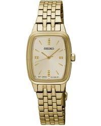 Seiko - Ladies Stainless Steel/gold Plate 3-hand Bracelet Watch Srz474p1 - Lyst