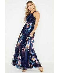 Little Mistress - Navy Viola Floral Plunge Maxi Dress - Lyst 6b36b5ed7