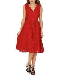Jolie Moi - Red Scallop Lace Midi Prom Dress - Lyst
