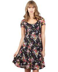 Izabel London - Black Floral Skater Dress - Lyst