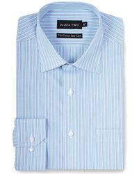 Double Two - Big And Tall Aqua Trio Striped Formal Shirt - Lyst