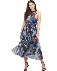 Izabel London - Navy High Neck Pleated Skirt Midi Dress - Lyst