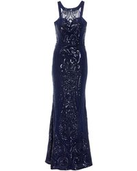 Quiz - Navy Sequin Fishtail Maxi Dress - Lyst