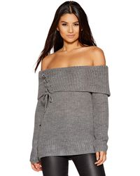 Quiz - Light Grey Knitted Bardot Lace Up Jumper - Lyst