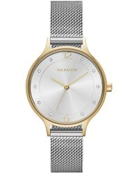 Skagen - Silver Ladies Anita Two-tone Steel Mesh Watch - Lyst