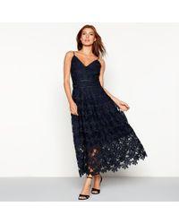 Y.A.S - Navy Floral Lace 'viola' V-neck Full Length Evening Dress - Lyst