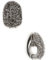 Anne Klein - Silver And Crystal Hoop Earrings - Lyst