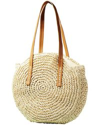Yumi' - Ivory Natural Weaved Circle Bag - Lyst