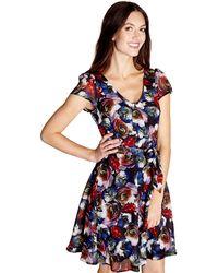 Yumi' - Multicoloured Floral 'norah' Skater Dress - Lyst