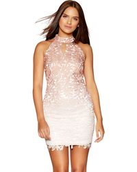 Quiz - Cream And Mocha Crochet Ombre Bodycon Dress - Lyst