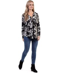 Izabel London - Black Floral Oversized Zip Top - Lyst