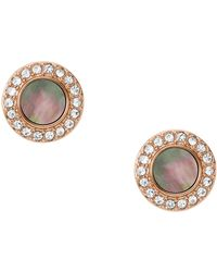 Fossil - Rose Gold Plated Mother Of Pearl Stud Earrings - Lyst