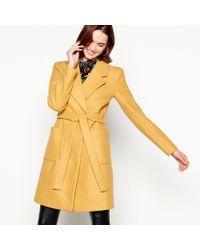 Vila - Mustard Double Breasted 'vijolani' Belted Coat - Lyst