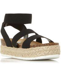 Steve Madden - Black 'kimmiee' Flatform Sandals - Lyst