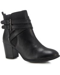 Lotus - Black Leather 'taggerty' Mid Block Heel Ankle Boots - Lyst