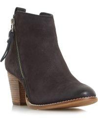 Dune - Black 'wf Pontoon' Stacked Heel Side Zip Ankle Boots - Lyst