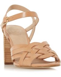 910677bdb09e Dune - Tan Leather  immigen  Mid Block Heel Ankle Strap Sandals - Lyst