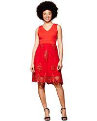 Yumi' - Red Lace Sequin 'milla' Mini Skater Dress - Lyst