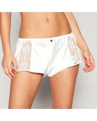 Lipsy - Ivory Satin Lace 'aria' Pyjama Shorts - Lyst