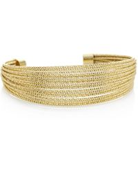 Red Herring - Gold Multi Row Textured Cuff Bracelet - Lyst
