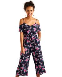 Yumi' - Navy Rose Print Cold Shoulder Jumpsuit - Lyst