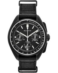 Bulova - Men's Black 'lunar Pilot ' Chronograph Leather Strap Watch - Lyst