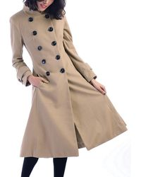 Jolie Moi - Camel Double Breasted Flare Coat - Lyst