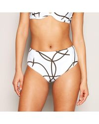 7b07b3e602 Debenhams. J By Jasper Conran - White Line Print High Waisted Bikini Bottoms  - Lyst