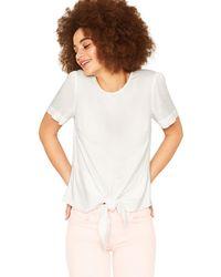 5ce2d4bcc7e4b Oasis - Off White Tie Front T-shirt - Lyst