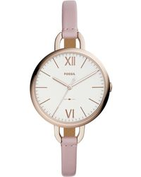 Fossil - Ladies Pink Leather Strap Watch - Lyst